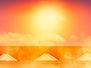 Bright orange sun over rooftop