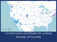 Dark Blue Map of Current Cases and Deaths for a Select Number of Counties